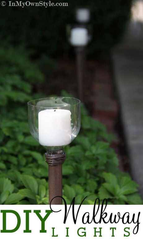 DIY Walkway Lights made from a dowel and a recycled soda bottle