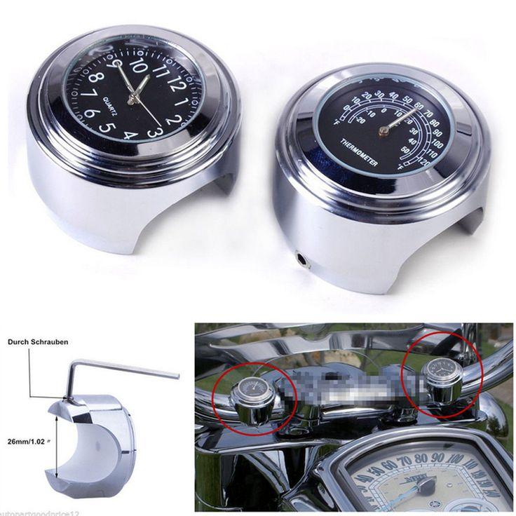 2 unids/set impermeable universal de 7/8 manillar de la motocicleta reloj de esfera de color negro reloj de temperatura termómetro para yamaha harley envío gratis