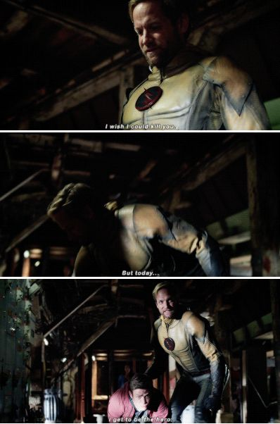 """""""I wish I could kill you. But today... I get to be the hero"""" - Eobard Thawne and Barry #TheFlash"""