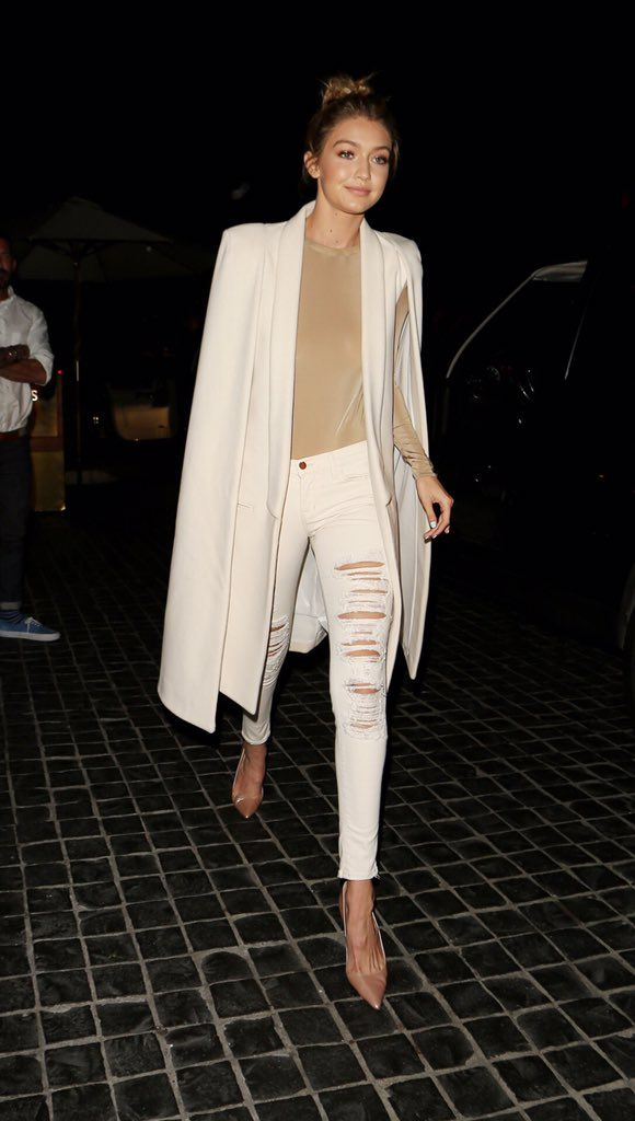 Click here to see best white ripped skinny jeans like Gigi Hadid wears: http://www.slant.co/topics/5078/~ripped-white-skinny-jeans