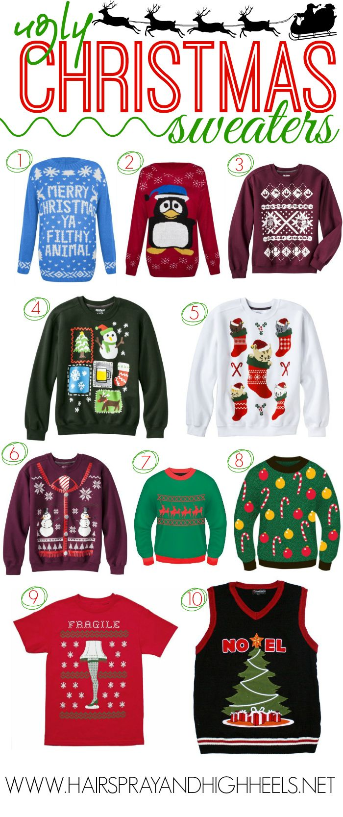 Ugly Christmas Sweaters via www.hairsprayandhighheels.com