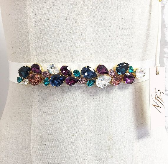 Simple cristal Swarovski cinturón nupcial por HelenaNoelleCouture