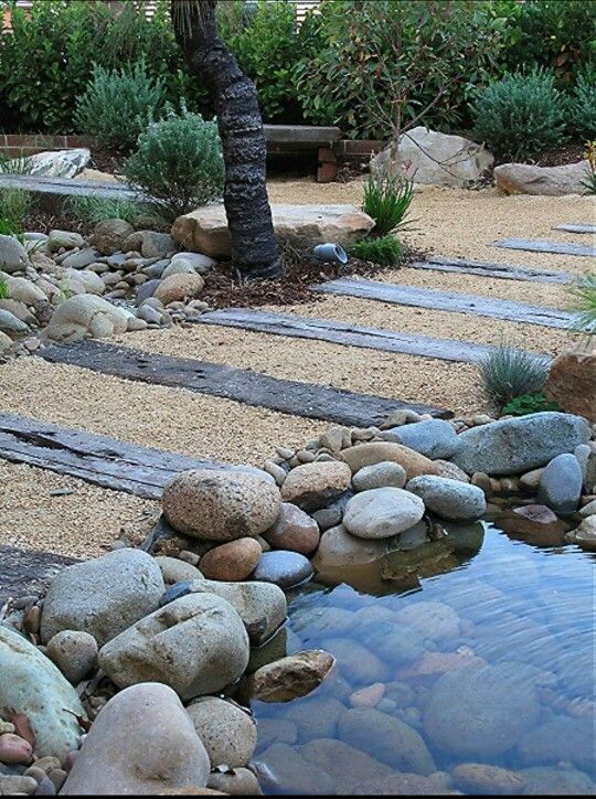 Pond set in pebbles and boulders