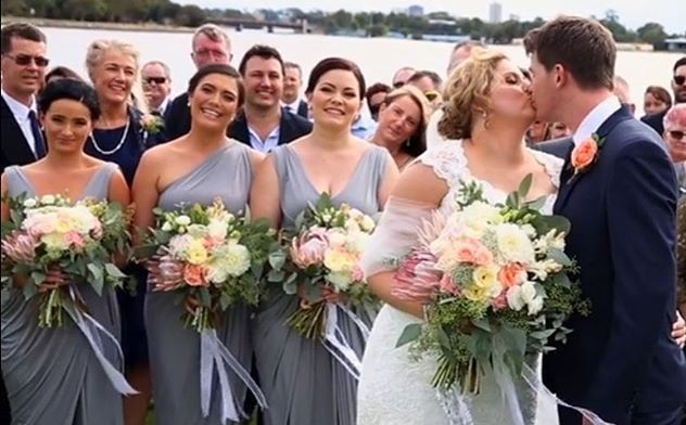 A dress to suit every shape and size. Iron floor length Pia Gladys Perey gowns, different styles, same stunning look. Nora and Elle Bridesmaids.