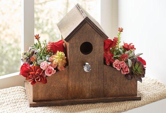 casinha    ninho de p u00c1ssaros   floreira dupla  casinha onde os p u00e1ssaros poder u00e3o fazer ninho  e