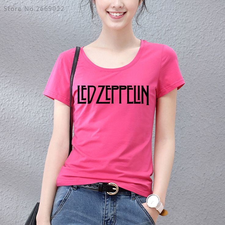 Slim Women t shirts fashion 2017 Led Zeppelin Logo Graphic T Shirt Cotton O Neck short sleeve Tee Shirt hip hop tshirts