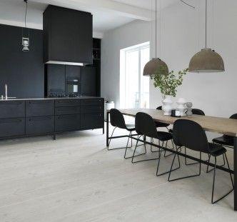 White timber floor, dark joinery pendants