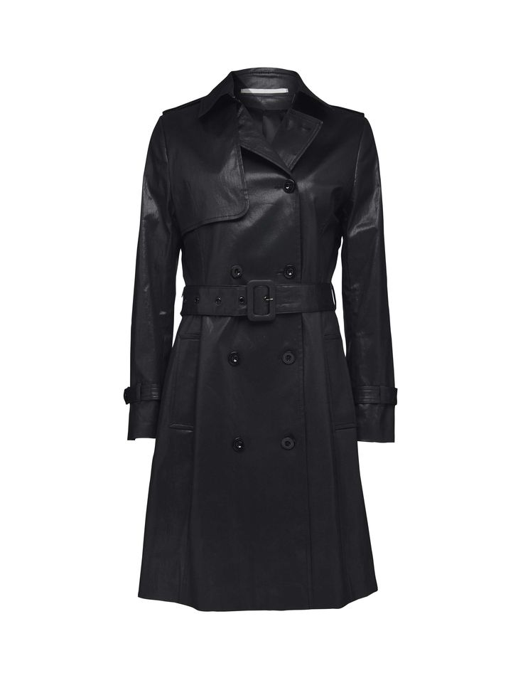 Tiene coat - Women's double-breasted coat in cotton with semi-lustrous coating. Features hook and eye closure at collar and separate belt with fabric-covered buckle. Jet pockets at front and inside pocket with button fastening. Detachable epaulettes and yoke with eyelet detail at back. Fully lined. Regular fit. Knee length.