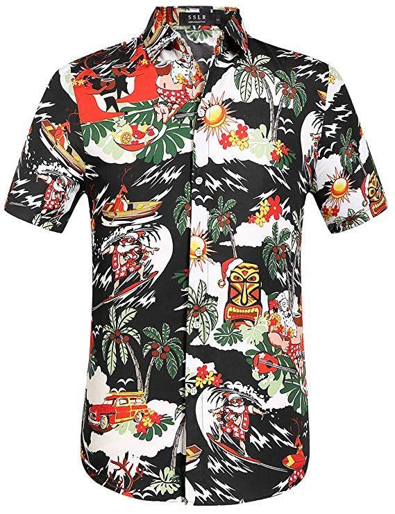 20e792ed SSLR Men's Santa Claus Party Tropical Ugly Hawaiian Christmas Shirts  (Large, Black)