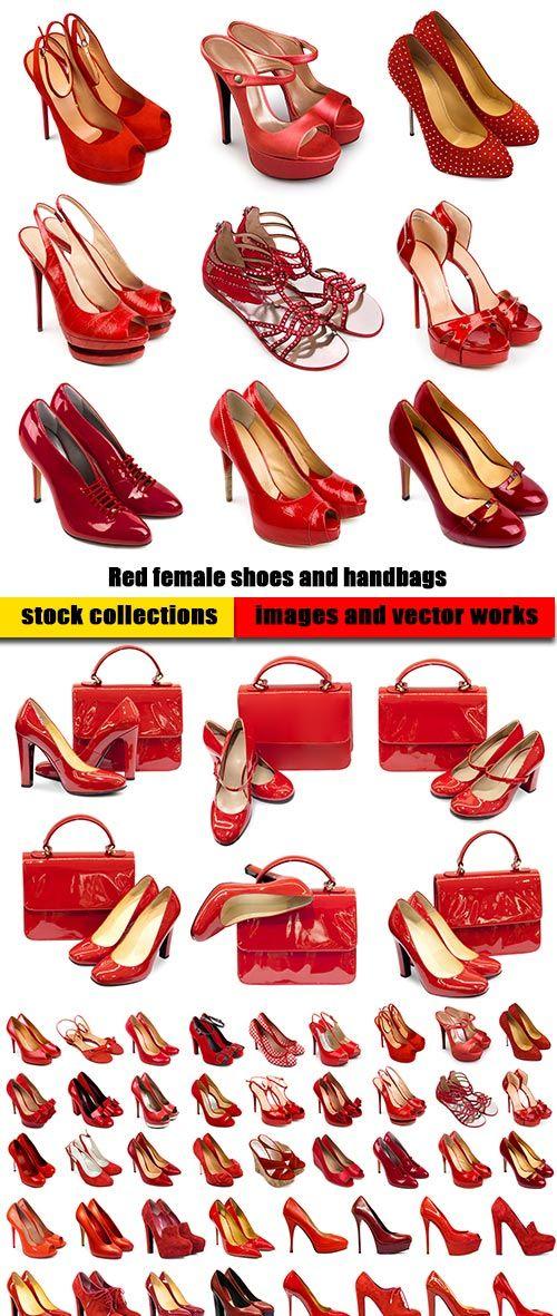 Красные женские туфли и сумки - 6 высококачественных стоковых фотографии