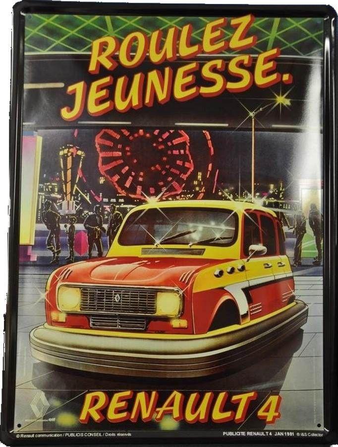 Renault 4 L – Roulez Jeunesse : Plaque décorative rétro en métal représentant une Renault 4L à la fête foraine. Idéal pour créer une déco dans l'ambiance vintagemécanique dans un garage, une concession automobile ou unbar.