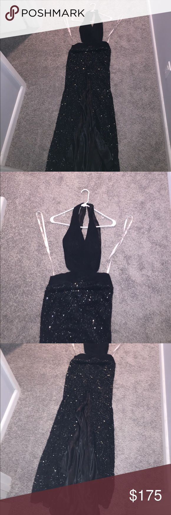 [Tony Bowls PARIS] Gown Paris Tony Bowls - silk black gown with beading all down the skirt part. High slit up the middle! Halter style top. Perfect for from or a fancy evening outing ! Tony Bowls Dresses Backless