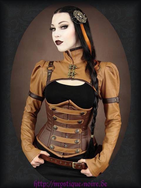 Steampunk Bolero Shrug braun Veggie Leder Neo Victorian Retro Futurism Gothic