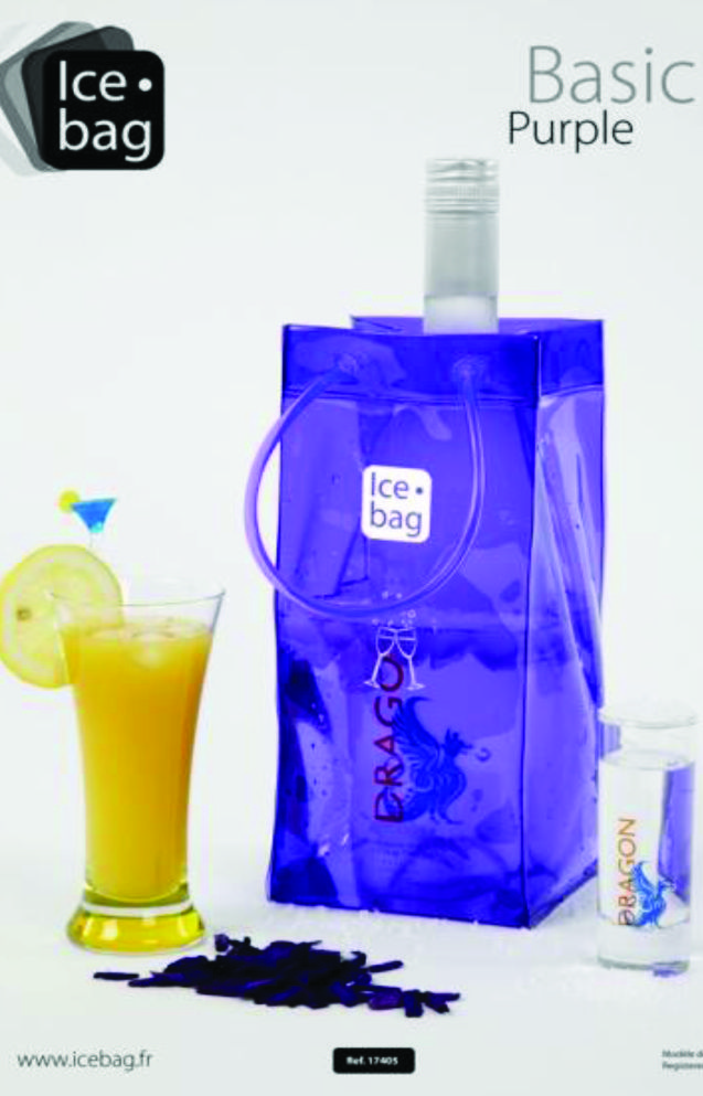 4206 Icebag Basic Purple  Made from durable PVC plastic, the Ice Bag® is water tight, light weight, flexible and folds flat for easy storage. Small and easy to carry – saves table space and goes anywhere with your bottle Original, trendy and suitable for every occasion all year Economical – it chills faster than a traditional ice bucket Retail Packaging Colour: Purple