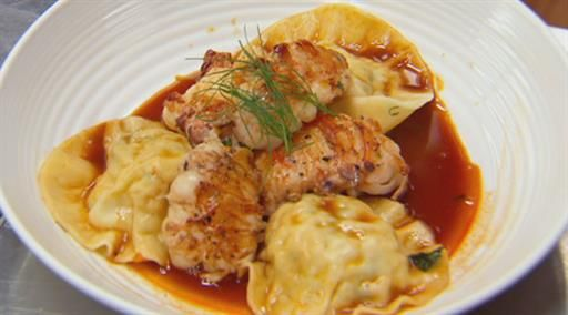 Prawn ravioli with seafood bisque, bug tail and prawn oil | MasterChef Australia