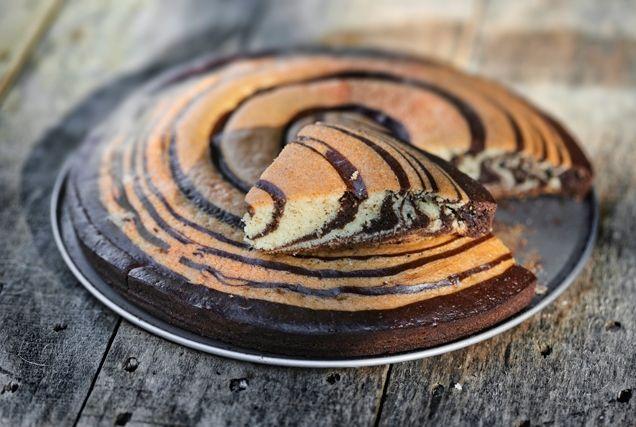 Κέικ ζέμπρα βανίλια-σοκολάτα