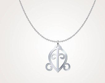 Beautiful Sterling Silver 'Love' Adinkra Symbol Necklace – Spiritual Yoga Necklace – Traditional African Tribal Jewelry Design