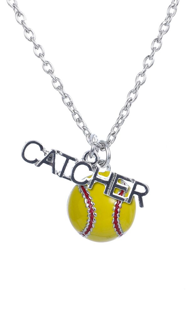 Customizable!+Softball+Catcher+Enamel+Necklace