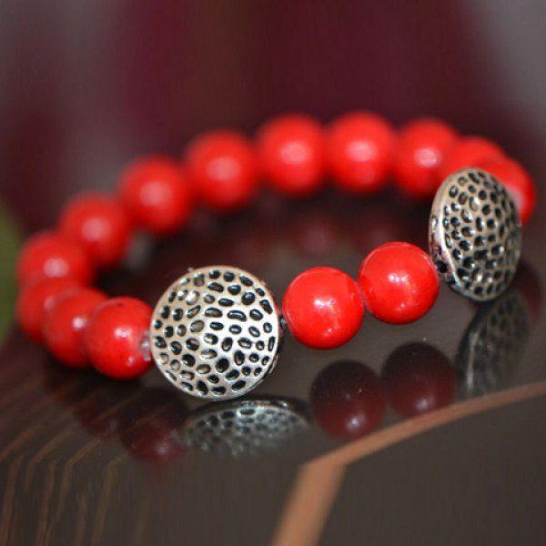 Cute Round Openwork Alloy Pendant Women's Red Bead Bracelet #women, #men, #hats, #watches, #belts