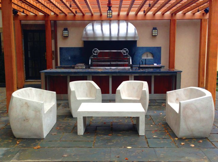 Lightweight Concrete Furniture   Lightweight Concrete Seating, The Van Dyke  Chairs With Love Seat And