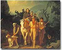 Even after Britain issued the Royal Proclamation of 1763, Daniel Boone continued to settle areas west of the Appalachian Mountains. This 1851 painting, Daniel Boone Leading Settlers through the Cumberland Gap, depicts the popular image of a confident Boone leading the early pioneers fearlessly into the West.