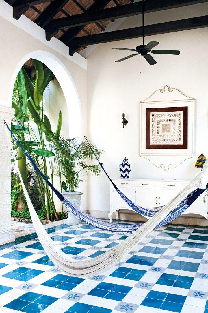 Blue white floor design! Casa Lecanda, Merida. Photo: Amanda Marsalis