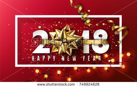 vector 2018 happy new year background with golden gift bow and christmas elements colors pinterest gift bow