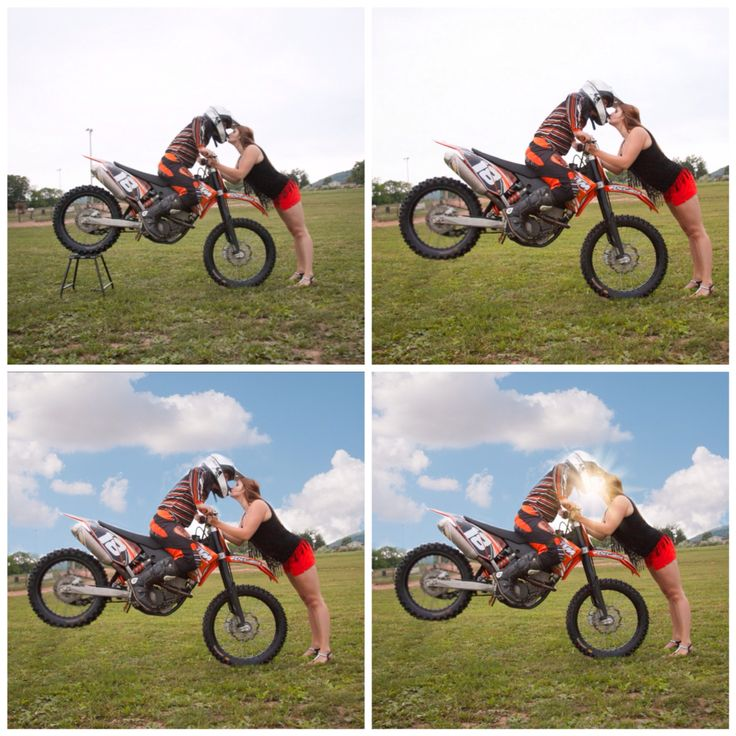 How to create a stop kiss.  1. Place bike off the ground on a stand, girl in front holds bike steady while boy balances.  2. Remove stand and blur back tire to create moving effect.  3. Add special edits as desired to enhance your photo.  Dirt bike couple.  Moto couple. dirt bike engagement. Dirt bike lovers. Dirt bike photography. Dirt bike love. Motocross love. www.erinlynphotography.com
