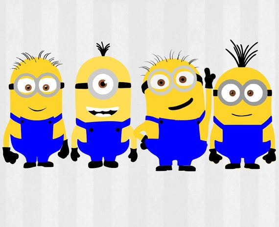 Minions Digital Download!   Just think of the possibilities with these SVG Files and Clip art files! Make shirts, mugs, canvas, birthday cards, decorations, gift bags, gift tags, cards, cupcake toppers... add these to anything! The possibilities are endless!       You will receive the following  -4 SVG Files- Cut vinyl, cardstock or other materials to layer and make both minions -4 PNG Files- transparent background to use as clipart        You can use this with your Silhouette Studio DE…