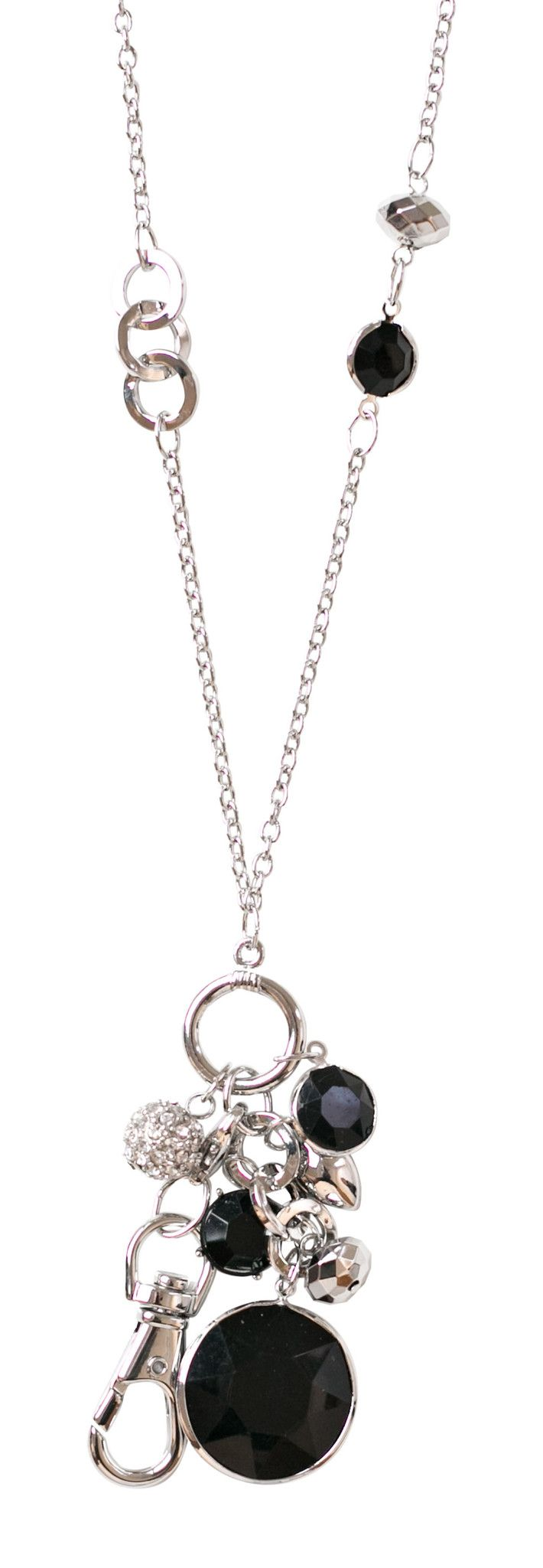 Emily Jet Convertible Drop Pendant Lanyard Necklace (Silver)