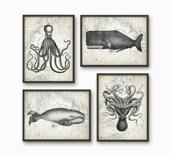 Whales And Octopus Bathroom Print Set of 4 - Bathroom Decor - Marine Biology Art - Whale And Octopus Illustration - AB217
