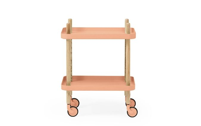 Block Side Table in Coral - A versatile piece of furniture. A bar cart makeover would look awesome in these colors (maybe use gold on the legs)