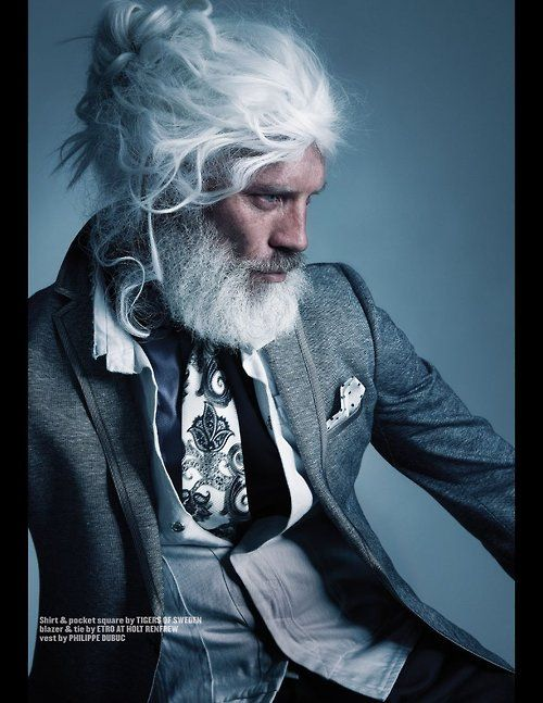 I would like to see him without the wig. And I hope he is growing his own hair. Old male models -- the good ones just don't fade away.