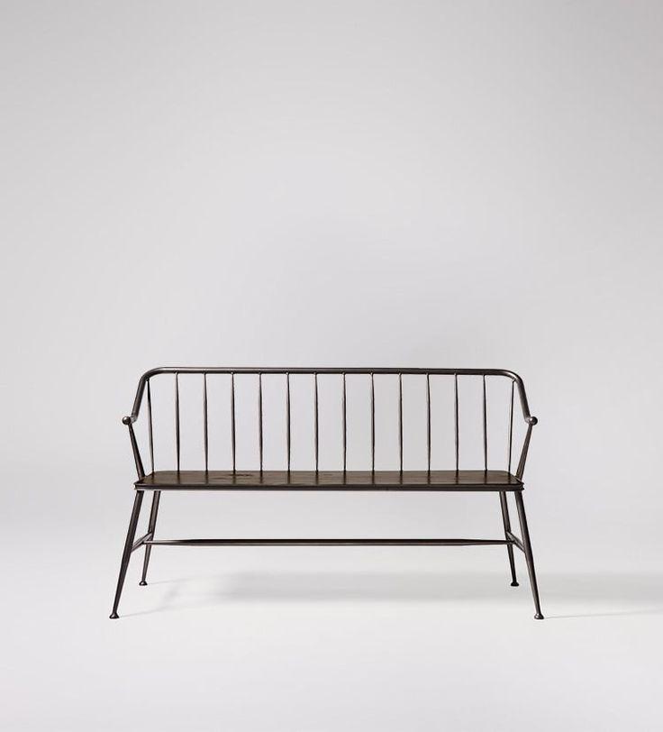 Corella bench in mango wood and black