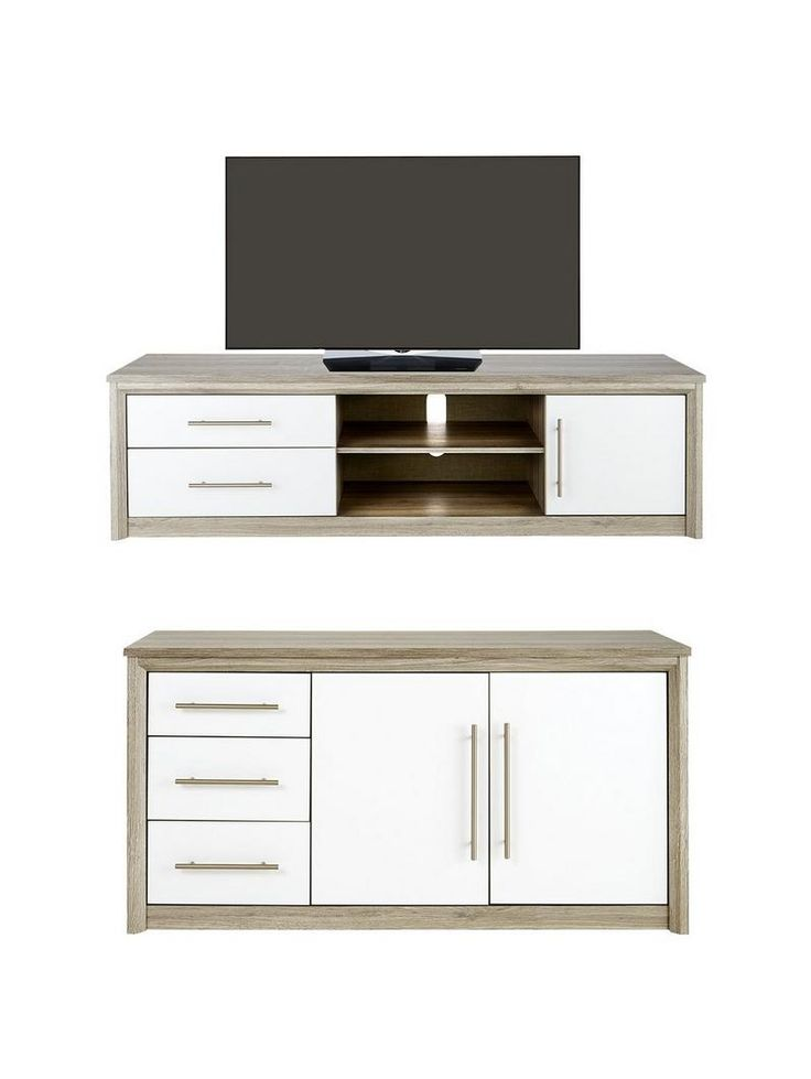 This great value 2-piece Ready Assembled Set by Consort contains a Large Sideboard and Extra Large TV Unit from their Jupiter collection! This two-piece set from the Jupiter collection is a quick way to give your living or dining room an ultra-modern style spin. Not only is it incredible value for money, but it will also be delivered ready assembled – we'll even take it to your room of choice and remove the packaging after!Extra Large TV UnitSuitable for televisions up to 60 inches, it…