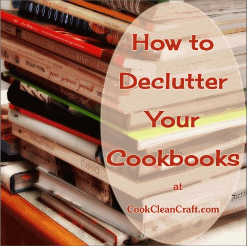 How to Declutter Cookbooks. Flick through each cookbook and write a list of the recipes to try. I wrote a list on a piece of paper, with the paper filed in a binder on my cookbook shelf. I put a tick next to a recipe I've tried and liked.