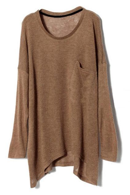 Oversized Single Pocket Embellished Camel Jumper