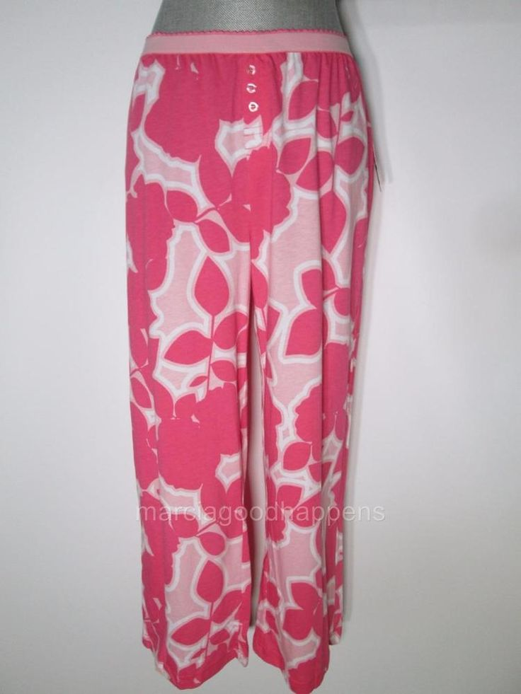 NEW Nautica Womens Pajama Pants Pink Coral Knit Capri Bottoms Large #Nautica #LoungePantsSleepShorts #Everyday