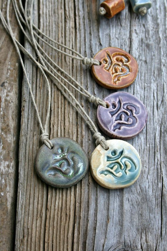 ceramic OM pendant by earthformsbymarie on Etsy, $15.00