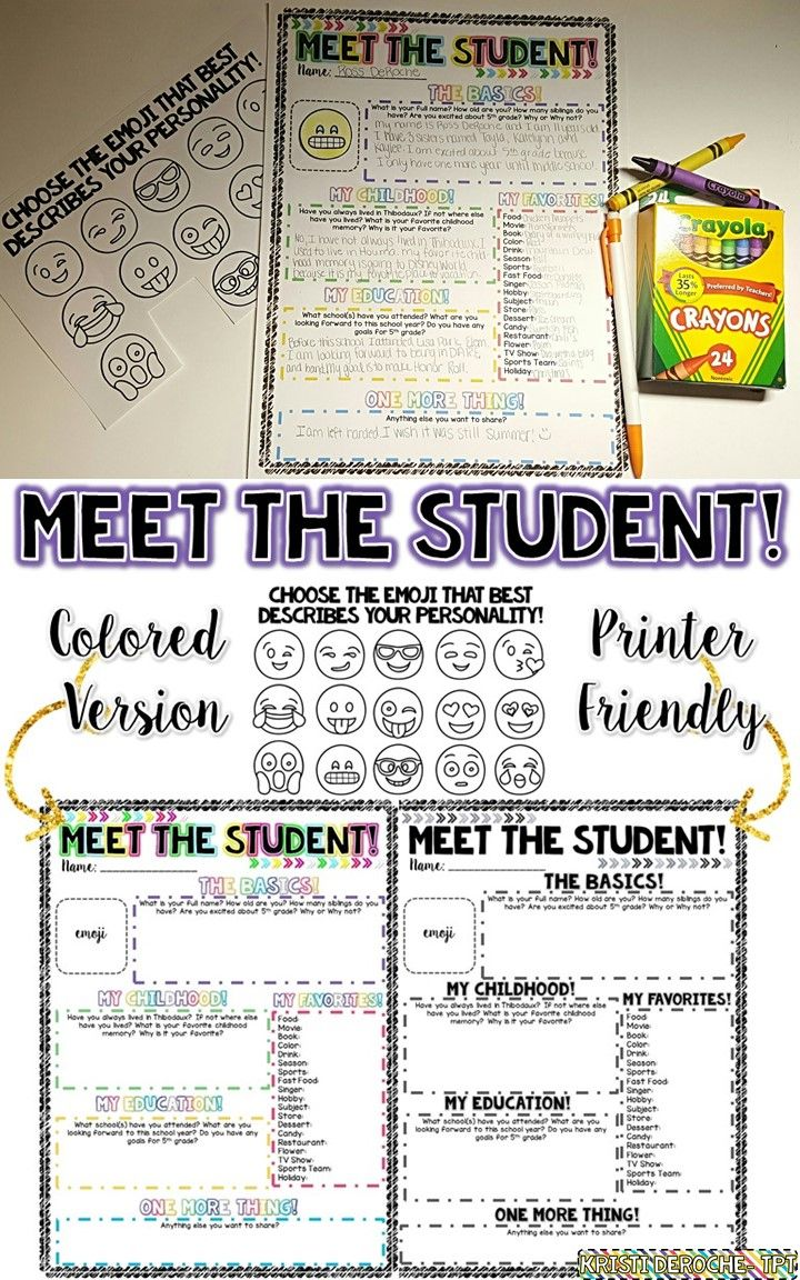 Meet the student activity! Perfect for the first days of school! Pair this with a matching Meet the Teacher newsletter!