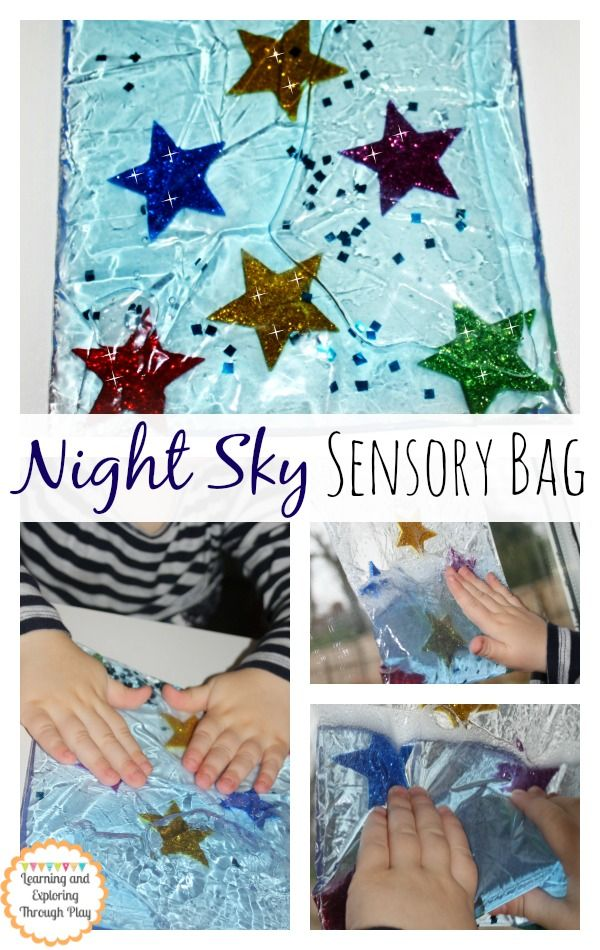 Night Sky Sensory Bag. Sensory Bag Ideas. Sensory Activities to children. Learning and Exploring Through Play.