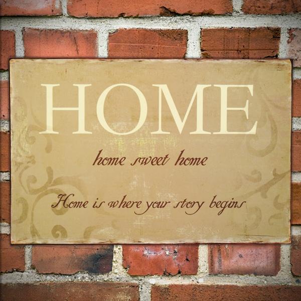 Home Sweet Home Vintage Tin Sign  www.yesterhome.com