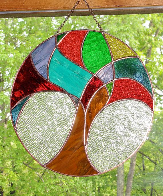 """Stained Glass Panel - Round Abstract Tree of Life, Signed Original Design, Handmade 14"""" 128.00"""