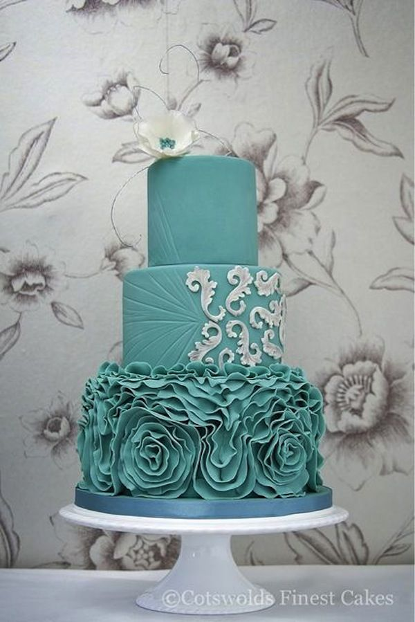 Featured Cake: Cotswolds Finest Cakes; Color Inspiration: Stylish Turquoise and Teal Wedding Ideas - wedding cake idea