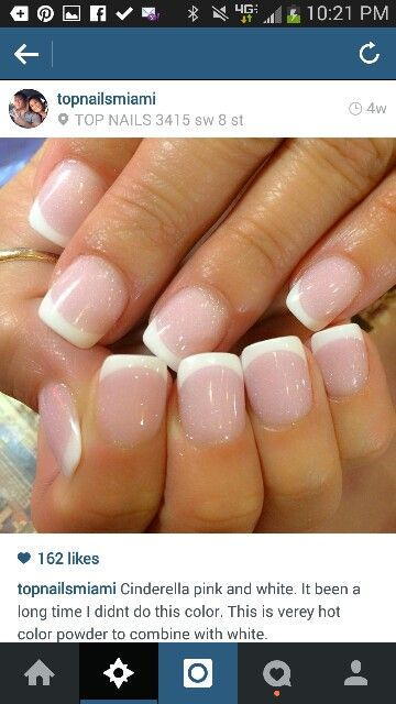 Cinderella pink and white French manicure #solarpowder #colorpowder #notpolish