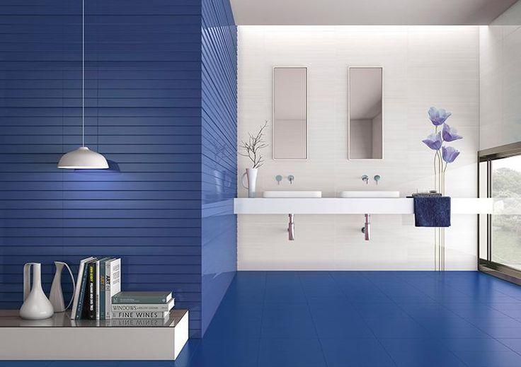 Groove Royal Blue + White 10x30 wall tiles #ibero