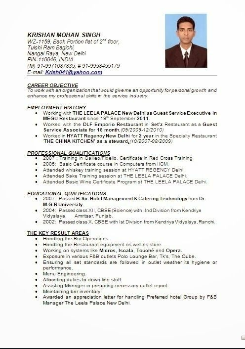 image result for resume format for hotel management fresher
