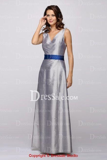 Silver Elegant Style V-Neck Royal Blue Band Bridesmaid Gown