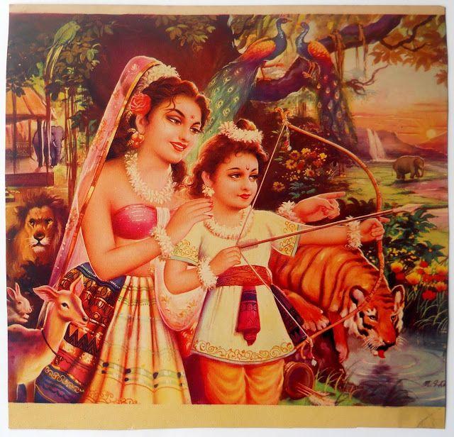 Shakuntala wih Her Son Bharat - Vintage Calender Print - Old Indian Arts