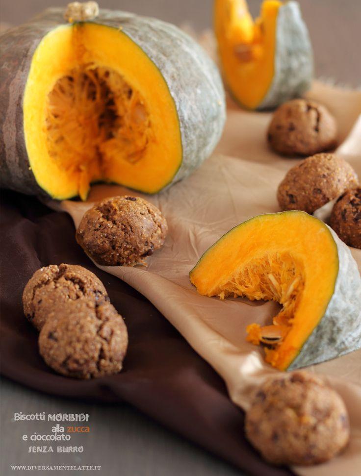 biscotti morbidi alla zucca e cioccolato #senzalattosio #senzauova #senzalievito